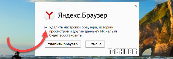 Удаляем настройки Браузера Yandex