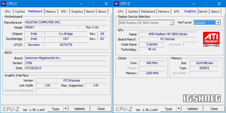 CPU-Z. Материнская плата и видеокарта