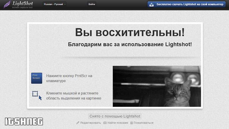 Страница со скриншотом на Lightshot