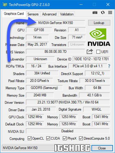 Информация о видеоадаптере в программе GPU-Z