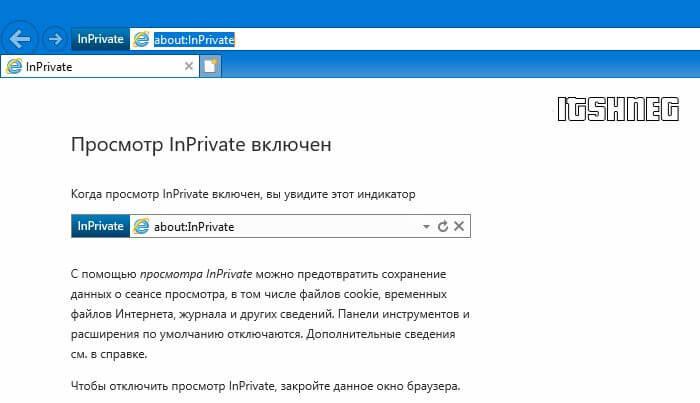 Вкладка InPrivate в IE