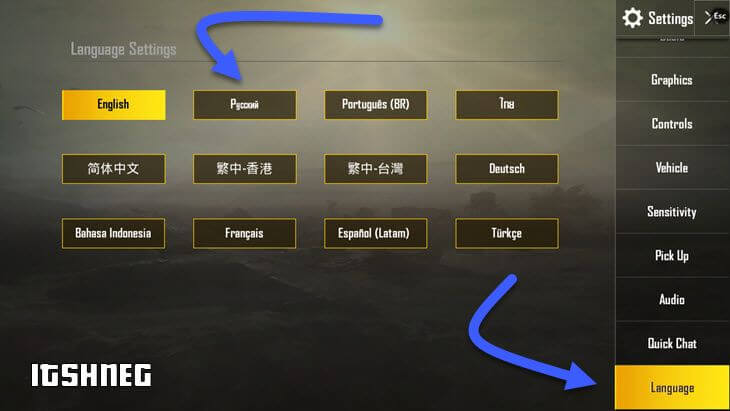 Смена языка в PUBG Mobile