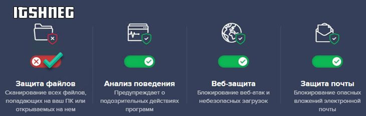 Отключенная защита файлов в Аваст