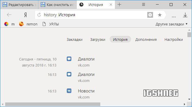 История посещений в Яндекс Браузере