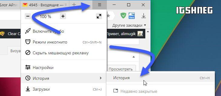 Расположении истории посещений в Яндекс