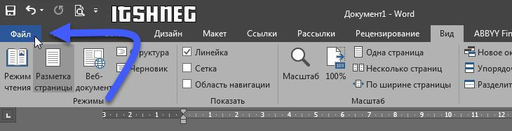 "Пункт ""Файл"" в Word 2016"