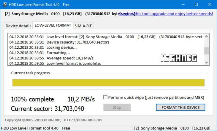 HDD LLFT - форматирование завершено