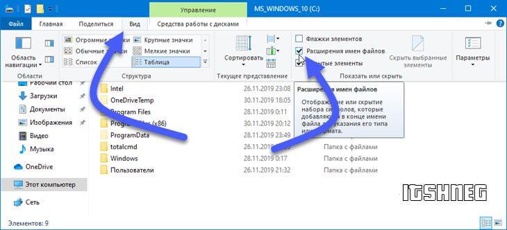 Включаем отображение расширения в Windows 10